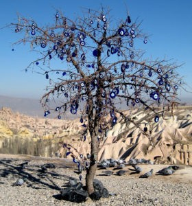 tree with evil eye charms in Cappadocia