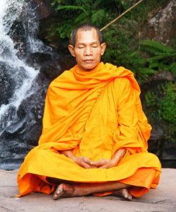 Buddhist monk in saffron-orange robe.