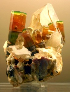 tri-color elbaite on quartz